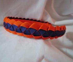 Girls headband in orange and purple