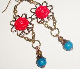 Cabochon flower rose red turquoise stone bead dangle chain antique vintage look boho filigree earrings