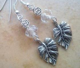 Dangle crystal leaf earrings