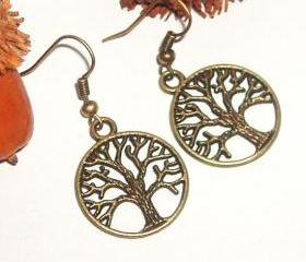 BUY 4 - GET 1 pair earrings FREE..Cute metal tree charm earrings- affordable gift