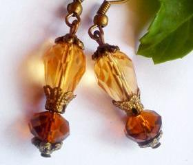 BUY 4 - GET 1 pair earrings FREE..Drop crystal teardrop topaz bronze earrings