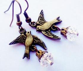 BUY 4-GET 1 pair earrings FREE..Bronze cute flying bird crystal earrings..casual vintage look..great gift