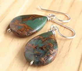 Gemstone Drop Earrings, African Green Opal Teardrops