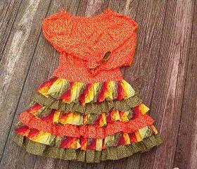girls ruffled skirt and top for fall size 6