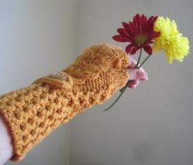 Crochet gloves mittens wrist warmers fingerless - bronze (G5)