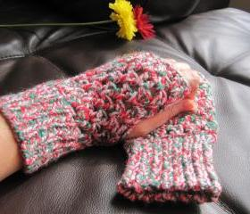 Crochet gloves mittens wrist warmers fingerless - Christmas color (G4)
