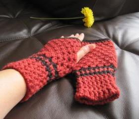 crocheted knitted fingerless mittens for women - -red/black (G2A)