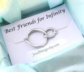 Silver infinity Necklace, everyday Necklace, infinity jewelry, everlasting lover, enternity, gift for BFF note card message, sterling silver