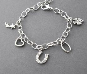 Lucky Charm Bracelet, Lucky Jewelry, Horseshoe, Four Leaf Clover,heart, wishbone, shooting star, Adjustable Charm Bracelet