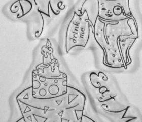 Alice in Wonderland Eat me and Drink me clear stamp set