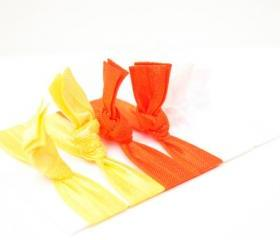 Halloween Hair Ties (6) - Candy Corn Fabric Hair Ties - Knotted Bracelet - Emi Jay Inspired Elastic Hair Bands - Orange, Yellow, White