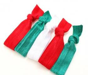 Christmas Elastic Hair Ties (5) - Emi Jay Inspired Fabric Hair Ties - Red & Green Hair Ties - Girls Elastic Ponytails - Stretchy Hair Bands