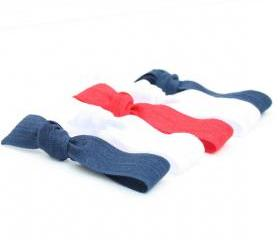 Red, White and Blue Hair Ties (5) - No Tug Hair Ties - Back to School - Elastic Ponytail - College Colors - School Spirit