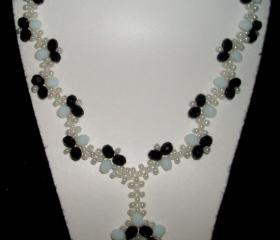 Black and white beadwork necklace