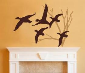 Ducks in Flight and Bare Tree Two Color Choice Vinyl Wall Decal 22218