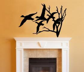 Ducks in Flight and Tree Single Layer Vinyl Wall Decal 22217