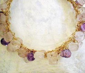 SALE 30% OFF - Rose quartz and Amethyst Bracelet- 14k Gold Filled