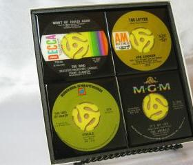 Classic Rock Set, Beautiful 4 pc. Set of Collectible 45 rpm Record Drink Coasters (The Who, Joe Cocker, Ides of March, The Animals)