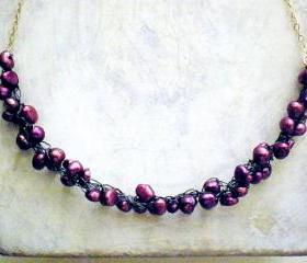 SALE 30% OFF - Purple pearls cluster crochet necklace
