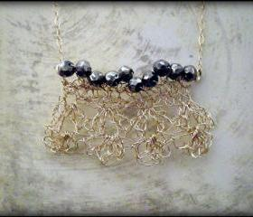 SALE 30% OFF - Crochet delicate gold statement necklace