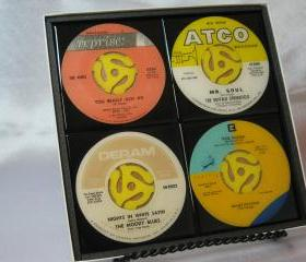Classic Rock Set, Beautiful 4 pc. Set of Collectible 45 rpm Record Drink Coasters (The Kinks, Buffalo Springfield, Moody Blues, Neil Young)