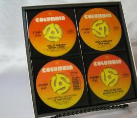 Willie Nelson, Beautiful 4 pc. Set of Collectible 45 rpm Record Drink Coasters