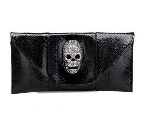 Envelope Shape Purse with Skull Head Embellishment