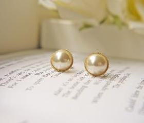 Vintage Acrylic Ivory Pearl Cabochon Post Earrings. Gold Bezel Setting. Elegant. Timeless.