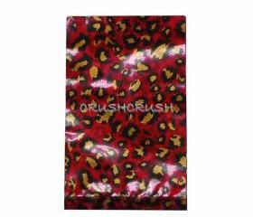 FREE SHIPPING -- 50pcs Red and Gold Leopard Animal Print Plastic Bags for Gifts Cute G025