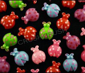 50pcs Resin LADYBUGS Flat back Cabochon Assort Color F613