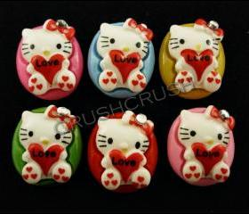 15pcs Hello Kitty Cats Bow Flat back Cabochons F612