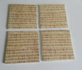 Christmas Sheet Music Holiday Print Tile Coasters