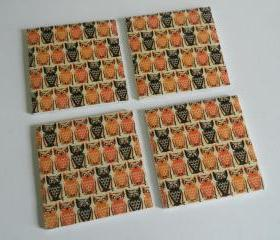 Orange and Black Owl Print Tile Coasters