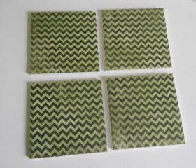 Green Chevron Print Tile Coasters