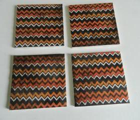 Orange and Black Chevron Print Tile Coasters