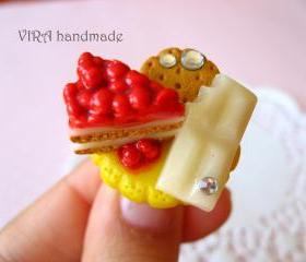 Kawaii lolita cherry cake with white chocolate and cookie ring