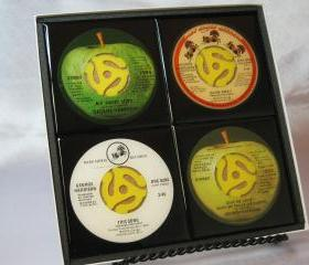 George Harrison Beautiful 4 pc. Set of Collectible 45 rpm Record Drink Coasters