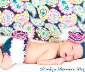 Vintage Feather Flower Crochet Headband and Diaper Cover Pattern