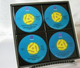 Creedence Clearwater Revival, Beautiful 4 pc. Set of Collectible 45 rpm Record Drink Coasters
