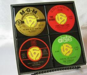 Classic Rock Set, Beautiful 4 pc. Set of Collectible 45 rpm Record Drink Coasters (The Kinks, The Animals, The Byrds, The Zombies)