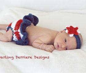 American Flag Diaper Cover and Star Headband Crochet Pattern