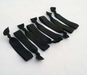 8 Hair Ties, The Basic Black Value Pack by Lucky Girl Hair TIes