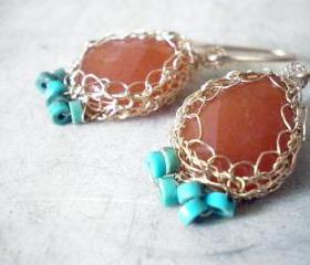 SALE 30% OFF - Crochet Red Aventurine, Turquoise, and 14k gold filled earrings