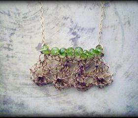 SALE 30% OFF - Crochet gold and peridot necklace - Georgia