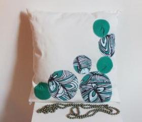  White decorative cover for pillows 'bubbles' - 16 x 16 inch