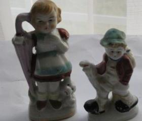 Collectible Vintage Girl & Boy Ceramic Figurines Japan Set of 2