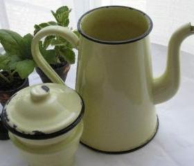 Yellow French Enamelware Coffee Biggin 1930s Vintage