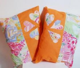2 orange decorative cover for pillows 'colorful hearts' - 19 x 14 inch