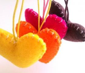 Wedding/party Hearts Decorations - pink, yellow, orange, brown, autumn shades, fall - Set of 4 - Ornaments/favors/decor/gifts