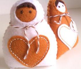 Babushka Christmas Decoration - Set of 2 white, ginger - Ornaments/favors/decor/christmas tree